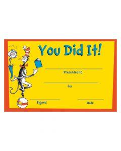Dr. Seuss You Did It! Certificates