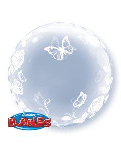 Elegant Rose & Butterfly 60cm Deco Bubble Balloon
