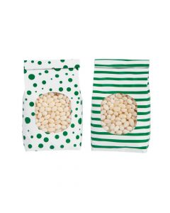 Emerald Green Patterned Tin Tie Treat Bags with Window