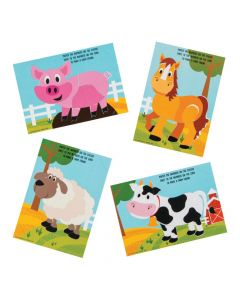 Farm Animals Sticker by Number Cards