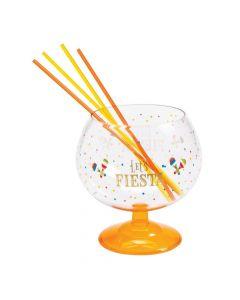 Fiesta Plastic Fishbowl Glass with Straws