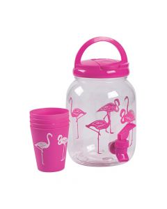 Flamingo Drink Dispenser with Cups