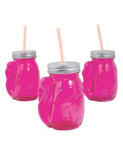 Flamingo Jar Glasses with Lids and Straws