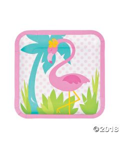 Flamingo Square Paper Dinner Plates