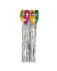 Foil Mardi Gras Mask with Fringe Curtain