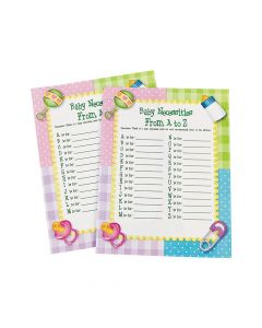 From A To Z Baby Shower Game