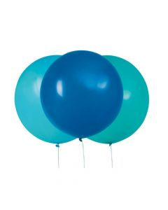 """Giant Blue and Teal 24"""" Latex Balloons"""