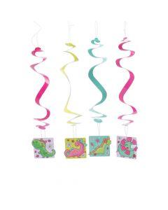 Girl Dinosaur Party Swirl Decorations