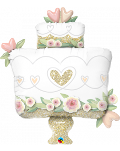 Glitter Gold Wedding Cake Foil Balloon