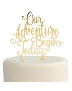 Gold Adventure Begins Cake Topper