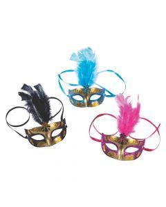 Gold Feathered Masquerade Masks
