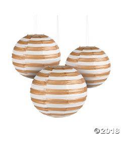 Gold Foil Striped Hanging Paper Lanterns