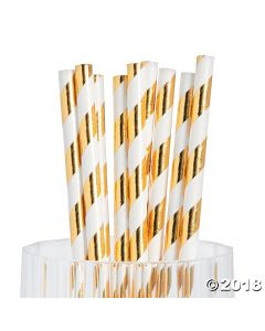 Gold Foil Striped Paper Straws