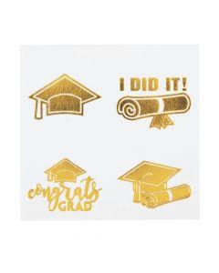 Gold Graduation Temporary Tattoos