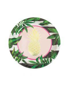 Gold Pineapple Paper Dinner Plates