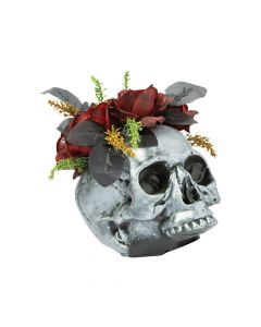 Gothic Skull Vase with Roses Halloween Decoration