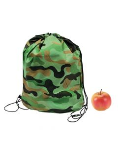 Green Camouflage Drawstring Backpacks