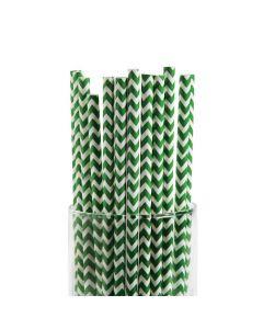Green Chevron Paper Straws