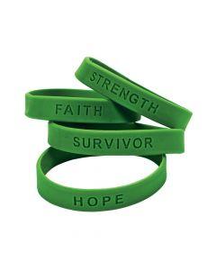 Green Ribbon Awareness Sayings Rubber Bracelets