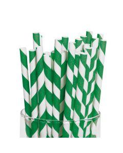Green Striped Paper Straws