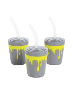Gross Slime Plastic Cups with Lids and Straws