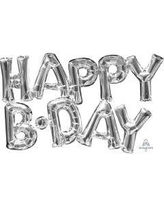 Happy Bday Silver Balloon