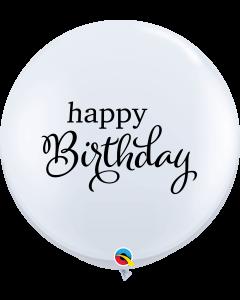 Happy Birthday White Round Latex Balloon