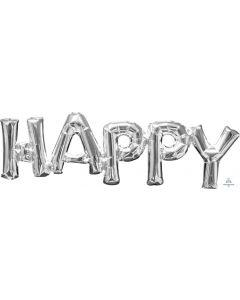Happy Silver Phrase Balloon
