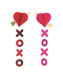 Heart and Arrow Tissue Honeycomb Hanging Decorations