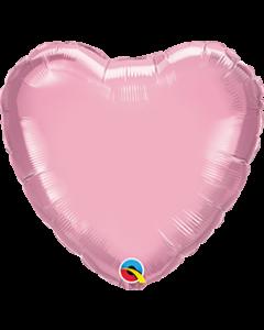 Heart Pearl Pink Plain Foil Balloon
