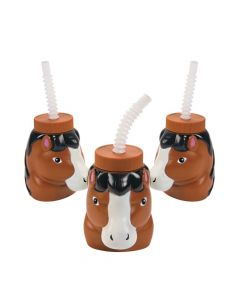 Horse Cups with Lids and Straws