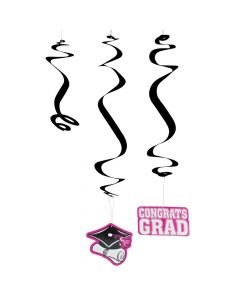 Hot Pink Graduation Hanging Swirl Decorations