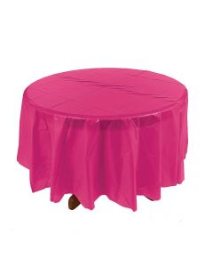 Hot Pink Round Plastic Tablecloth