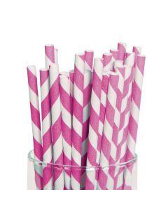 Hot Pink Striped Paper Straws