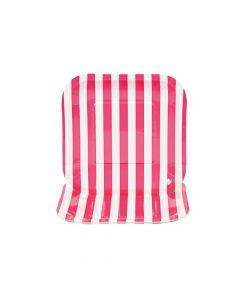 Hot Pink Striped Square Paper Dessert Plates - 8 Ct.