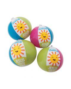 "Inflatable 5"" Smile Jesus Loves You Mini Beach Balls"