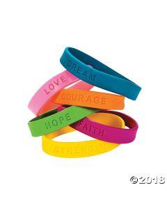 Inspirational Sayings Rubber Bracelets