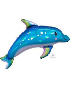 Iridescent Blue Dolphin Holographic Super Shape Balloon
