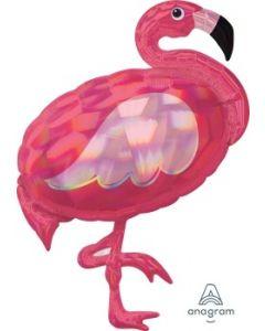 Iridescent Pink Flamingo Supershape Foil Balloon
