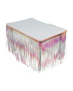 Iridescent Plastic Fringe Table Skirt