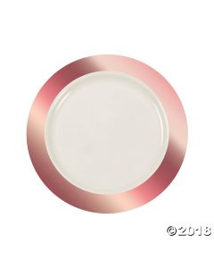 Ivory Premium Plastic Lunch Plates with Rose Gold Border