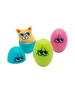 Jumbo Hatching Plush-Filled Plastic Easter Eggs - 12 Pc.