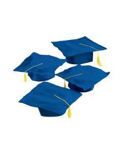 Kids' Blue Felt Graduation Caps - 36 Pc.