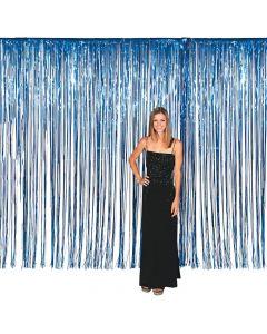 Large Blue Foil Fringe Door Curtain
