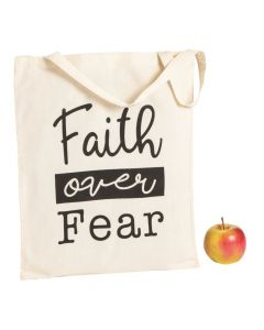 Large Faith Over Fear Canvas Tote Bags