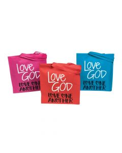 Large God's Love Bright Tote Bags