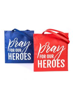 Large Pray for Our Heroes Tote Bags