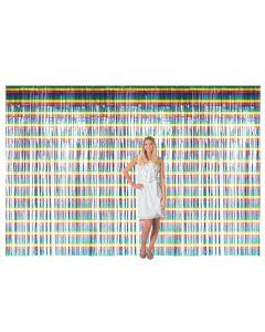 Large Rainbow Metallic Fringe Backdrop Curtain