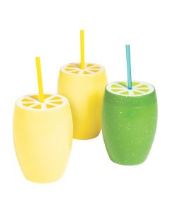 Lemon and Lime Cups with Straws