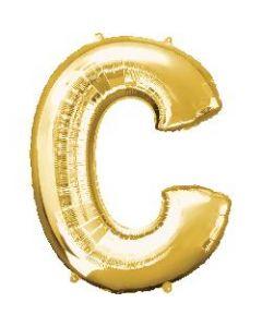 Letter C Gold Supershape Foil Balloon